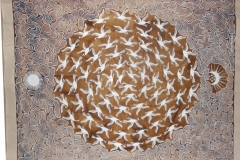 Artist  Anil Vangad   <br/>  sizes 26 x 36    <br/>  2020     <br/> medium ; cowdung background and acrylic paint .