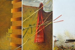 Artist: Shruti Gupta Chandra <br/> Title: Tower of Babel <br/> Size: 12 X 20 inches  <br/>Year: 2016 <br/> Medium: Acrylic and oil on canvas (triptych)